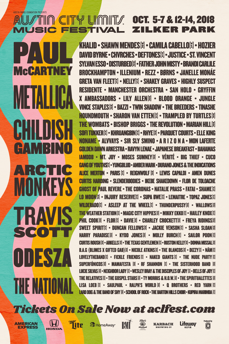 Line Up 2018 Austin City Limits. Foto: ACL