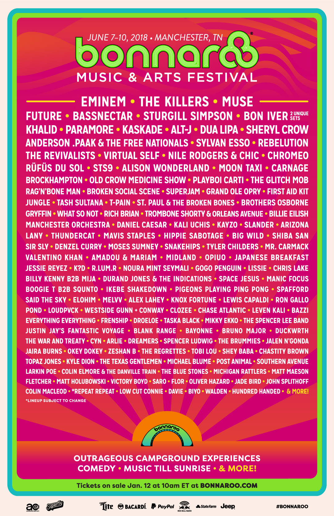 Line Up Bonnaroo 2018. Foto: Bonnaroo
