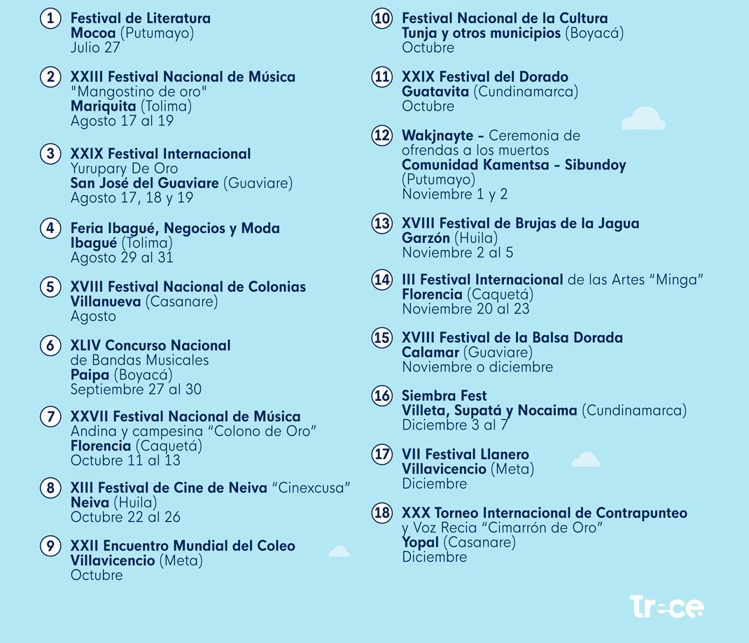 Calendario Colombia 2019 Octubre.Calendario 2018 Ferias Y Fiestas En Colombia
