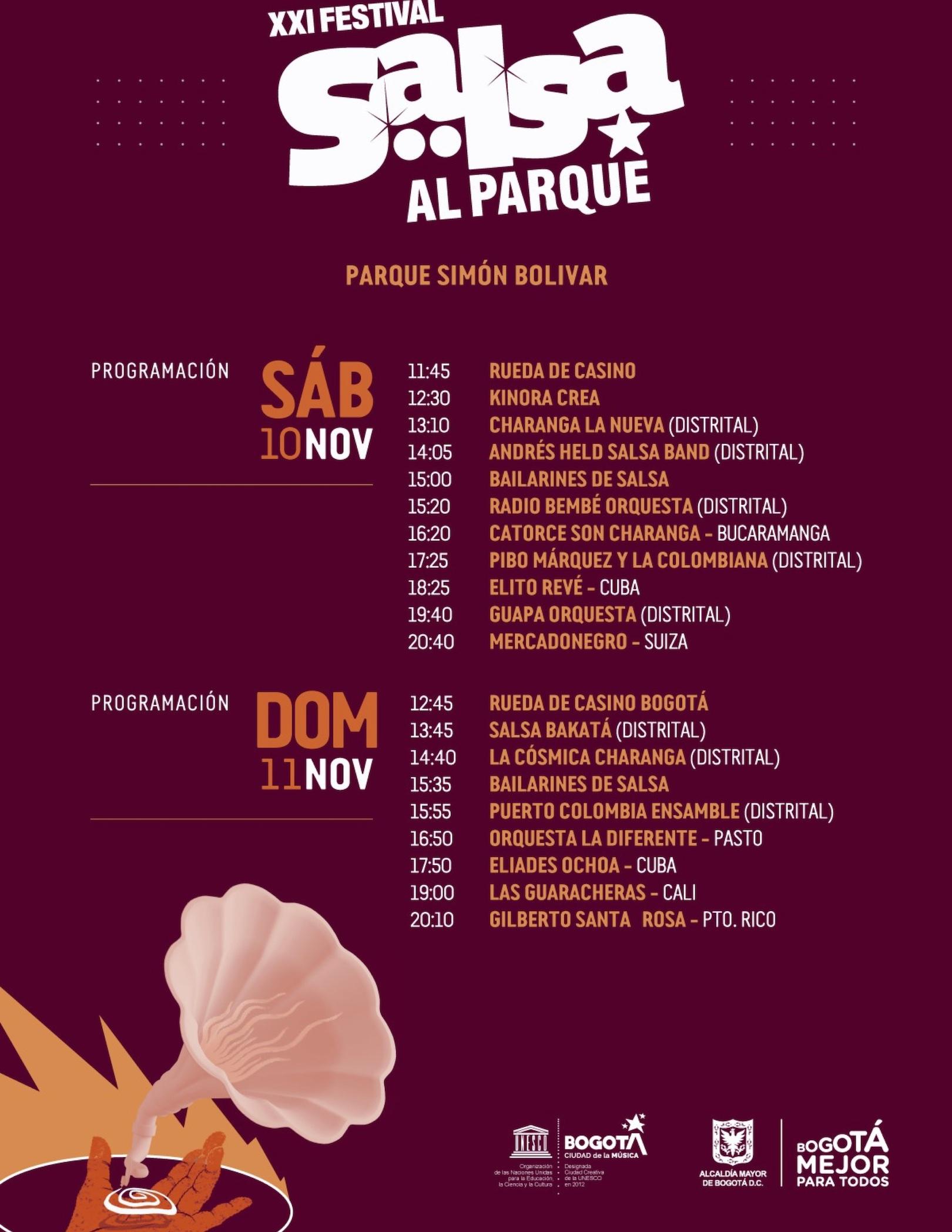 Festival Salsa Al Parque 2018 Programación Bogotá