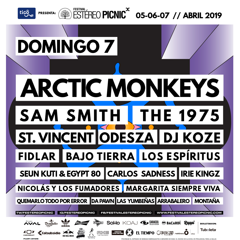 Estéreo Picnic, line up por días, domingo.