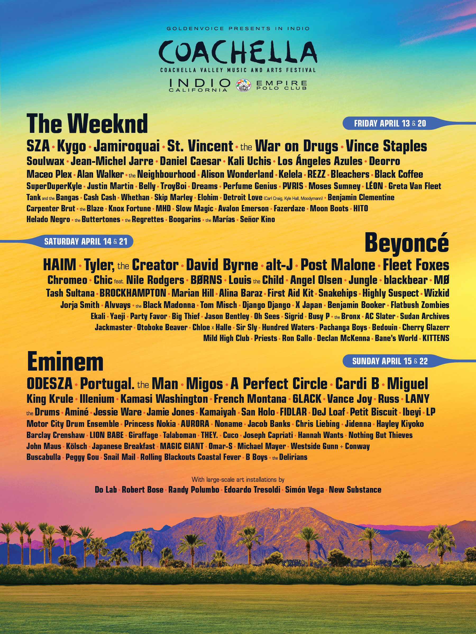 Line Up Coachella 2018. Foto: Coachella