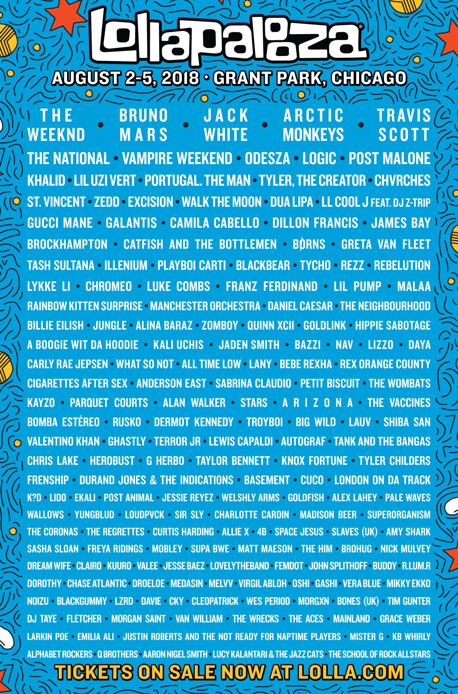 Line Up Lollapalooza 2018. Foto: Lollapalooza